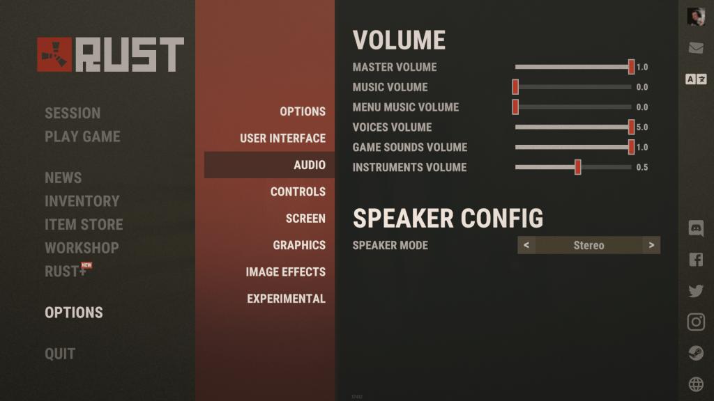 Rust audio asetukset