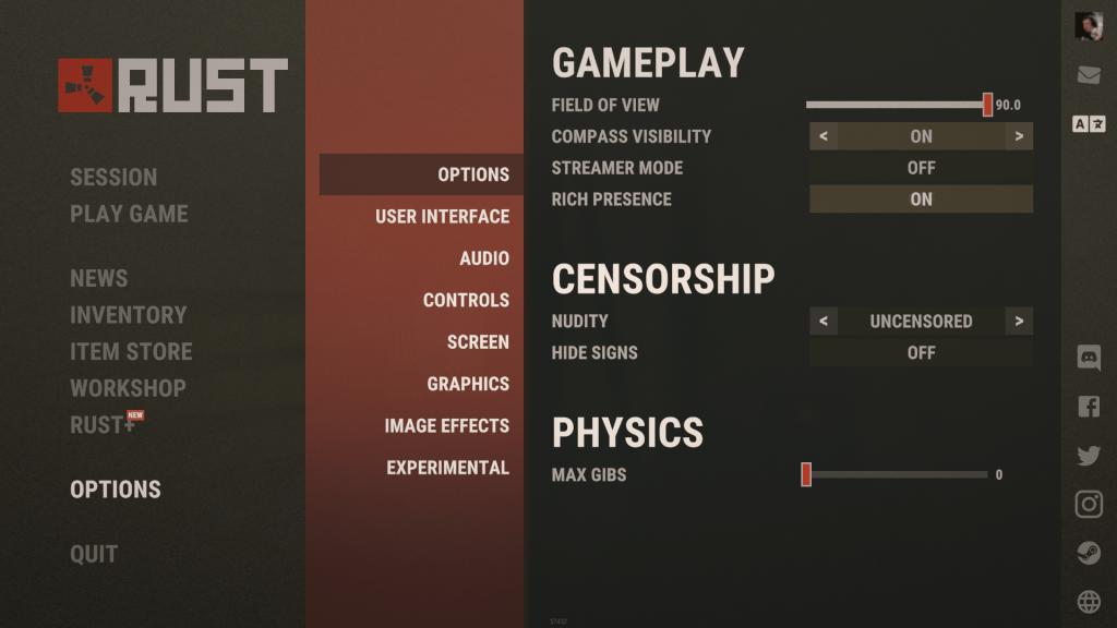 Rust gameplay asetukset