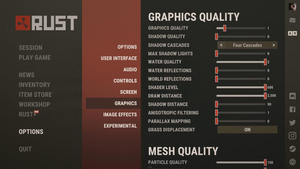 Rust grafiikka asetukset